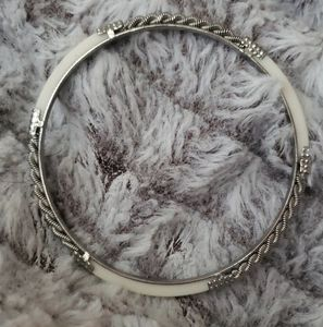 SilverTone and White Accented Bangle